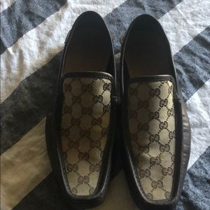 Gucci brown canvas print loafers never used